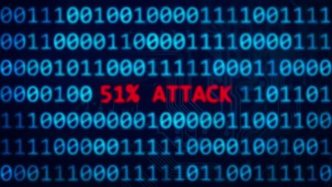 51% attack on blockchain security vulnerability 3D animation with depth of field