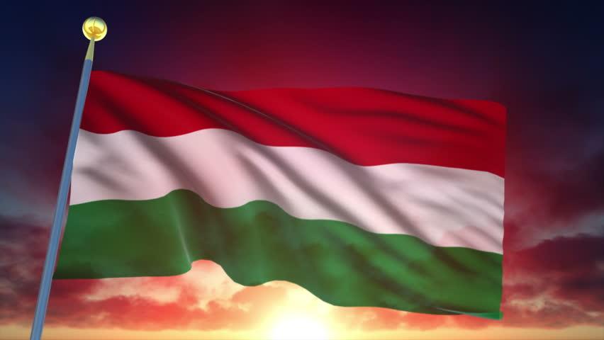 Hungary Flag at Sunset.
