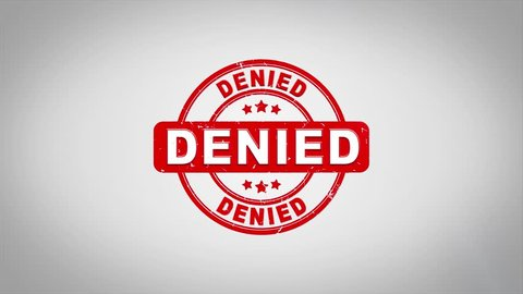 Denied  Signed Stamping Text Wooden Stamp Animation. Red Ink on Clean White Paper Surface Background with Green matte Background Included.