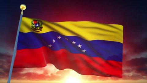 Venezuela Flag at Sunset - 25 fps - Loop Animation