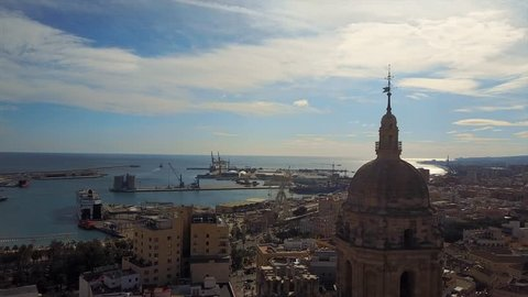 aerial photography of the old city Malaga, spain, cityscape from the sky