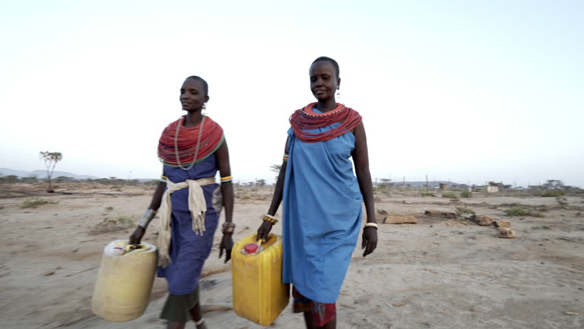 Samburu women collecting clean water. Kenya.