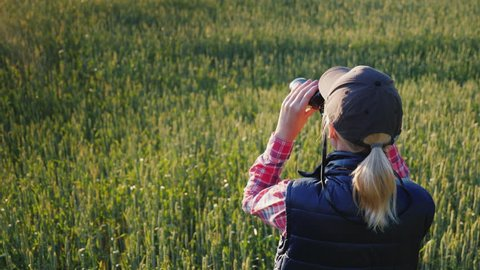A woman looks through binoculars. Standing in the endless green field. Rear view
