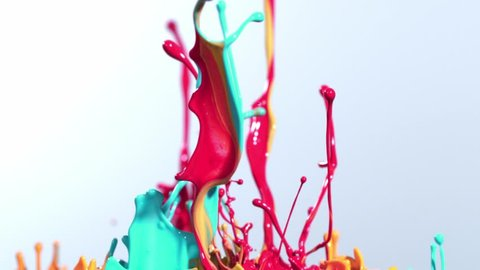 Super slow motion of dancing colors, isolated on black background. Filmed on high speed cinema camera, 1000 fps.