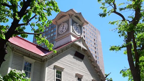 Sapporo city hokkaido,Japan May 20 2018 :Sapporo Clock Tower is a wooden structure and well-known local tourist attraction. The Clock Tower is a symbol of Sapporo.