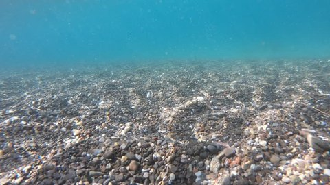 Underwater scenery of a bottom of the sea, with pebble sea bottom and wavy sea water surface.