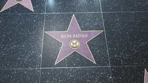 Hollywood, CA, USA - 05/03/18: Hollywood Walk of Fame Star with Gilda Radner's name. Wide and CU Detail. For editorial purposes. Must get approval for 'commercial' use