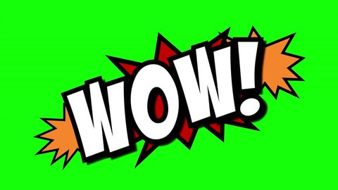 A comic strip speech cartoon animation with an explosion shape. Words: wow, yay, win. White text, red and yellow spikes, green background.