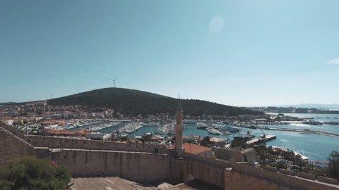 Cesme castle panorama view, Izmir turkey.