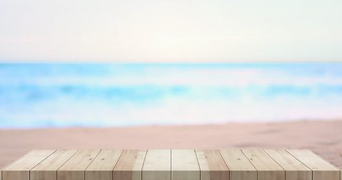 top table wooden on the beach and sea blurred Backgrounds