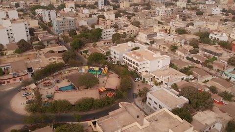 Aerial of Dakar, Senegal with children's playground in Point E district.