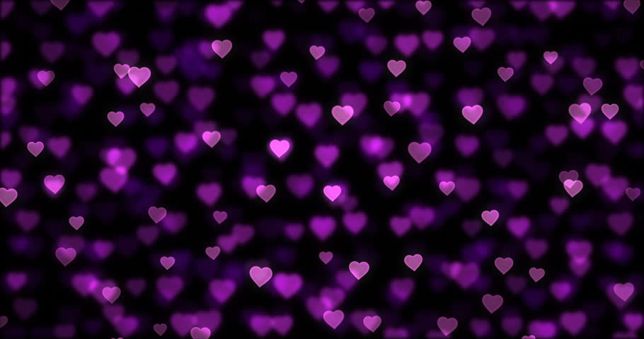 Glittering flying heart shapes background. Dark purple and pink defocused texture. Romantic sparkling bokeh motion graphics | Shutterstock HD Video #1012387616