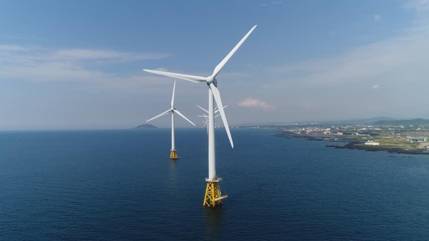 Landscape with offshore wind turbines, Jeju island, South Korea, Asia