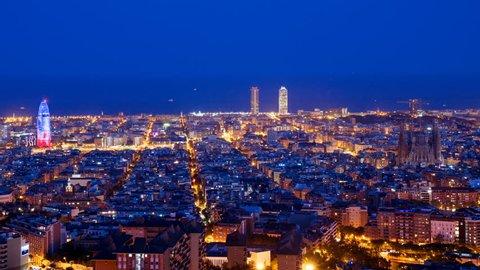 timelapse, Barcelona sunset, Spain