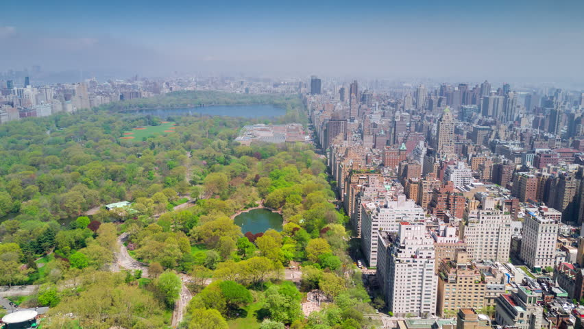 Aerial timelapse dronelapse view of Central Park, Upper East and West Side Manhattan and Midtown Manhattan, New York, USA | Shutterstock HD Video #1012402286