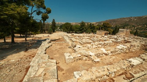 Ultra wide angle shot of the Minoan Palace of Knossos in Heraklion, Crete, Greece and surrounding mountains