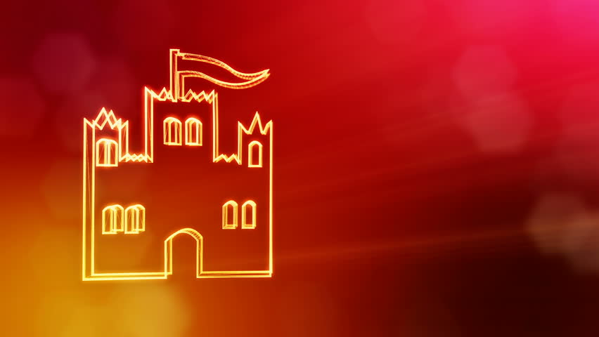 icon of castle. Background made of glow particles as vitrtual hologram. 3D seamless animation with depth of field, bokeh and copy space. Red version 3