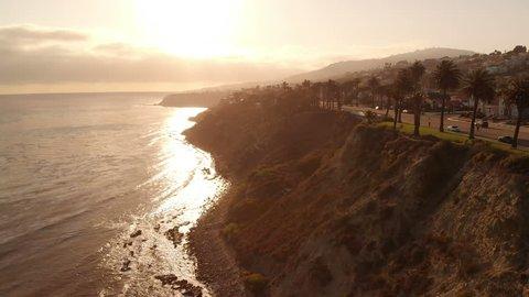 Aerial Sunset Palm Trees in Coastal San Pedro California USA