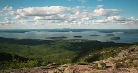 Clouds Passing Over Bar Harbor, Maine viewed from Cadillac Mountain in Acadia National Park