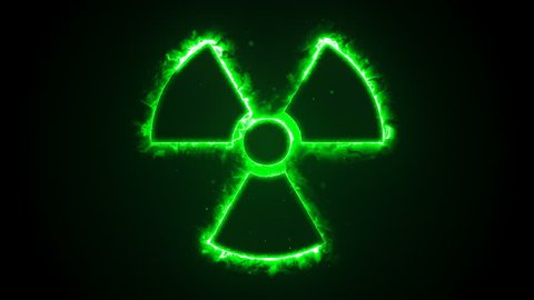 Seamless animation of green fire or flow energy from nuclear and biohazard symbols.