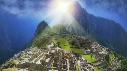 Machu Picchu with sunset perspective