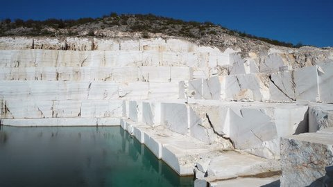 Beautiful Marble lake, Pamukkale. It`s an old marble mine which was abandoned because of the nature which has its effect