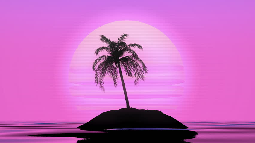 80s Retrowave Vibes, Lonely Palm, Seamless Loop