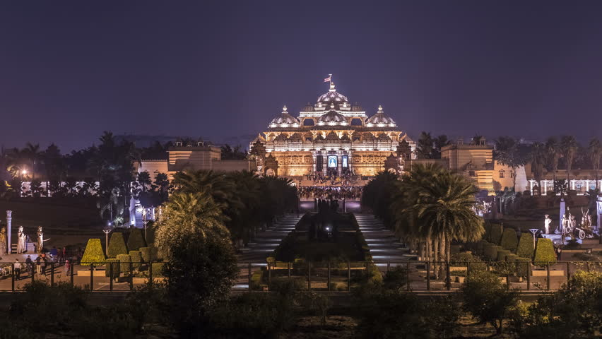Delhi Akshardham temple night time lapse 4k