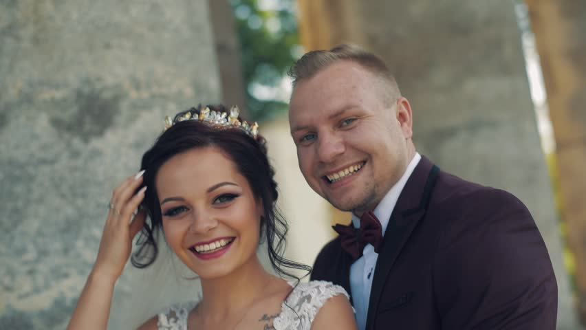 Lovely wedding couple laugh together | Shutterstock HD Video #1012519046