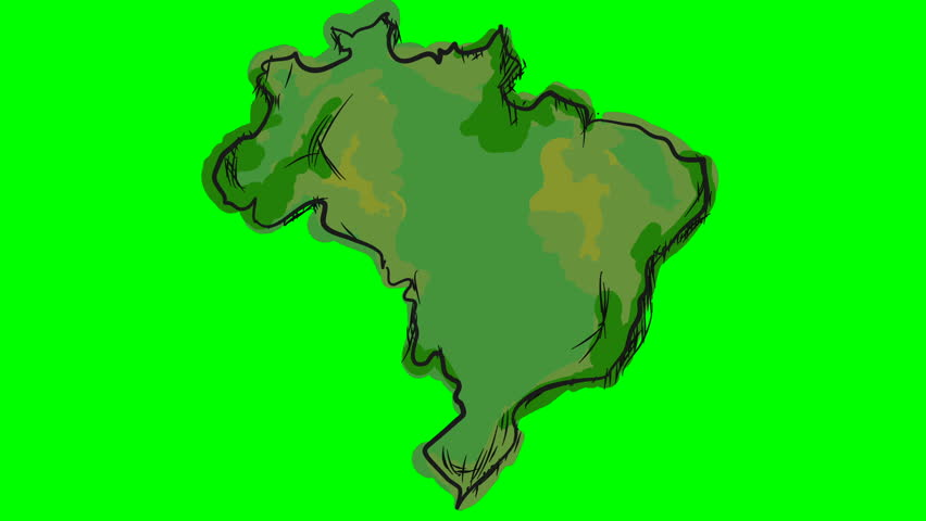 Brazil colored drawing map on green screen isolated