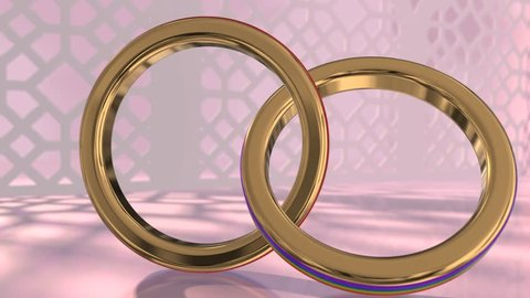Same sex marriage couple gay pride LGBT wedding rings 3D render