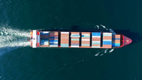 Large Container Ship at Sea, Aerial Top Down View
