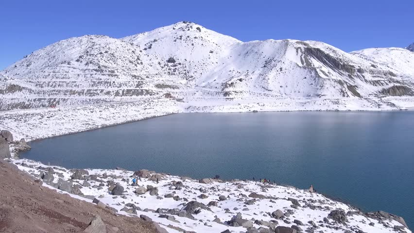 Landscape, lagoon and mountain snow in Santiago, Chile | Shutterstock HD Video #1012575716