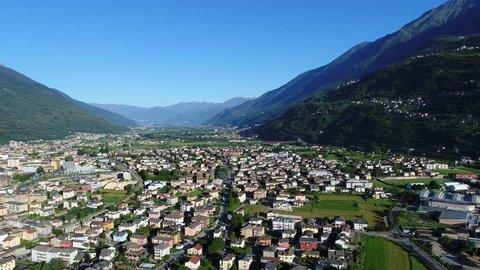 Aerial view, city of Morbegno. Province of Sondrio