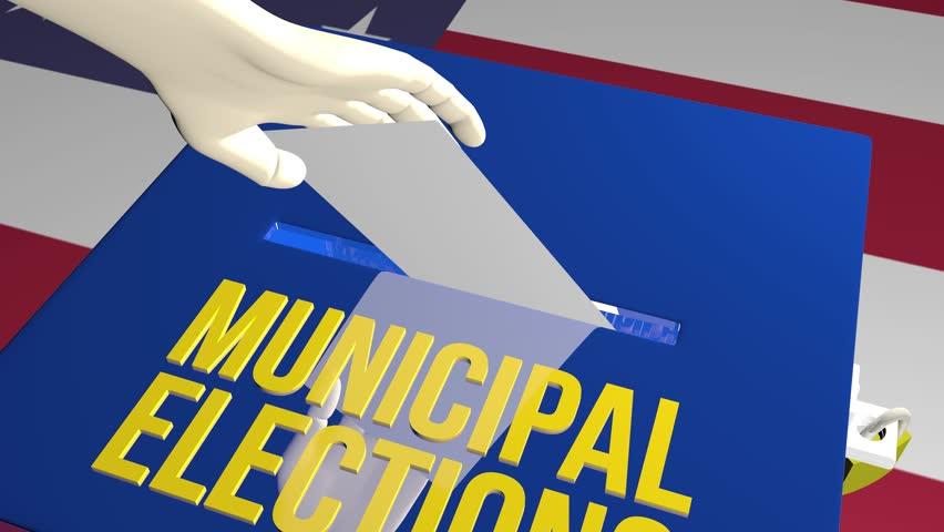 Municipal Elections on ballot concept animation