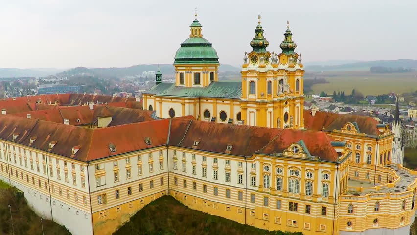 Beautiful Melk Abbey in Austria, antique architecture sightseeing, aerial view