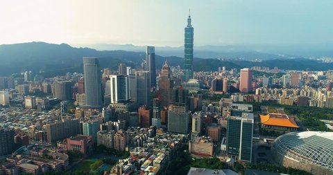 Aerial shot of cityscape at Taipei center district, Taiwan