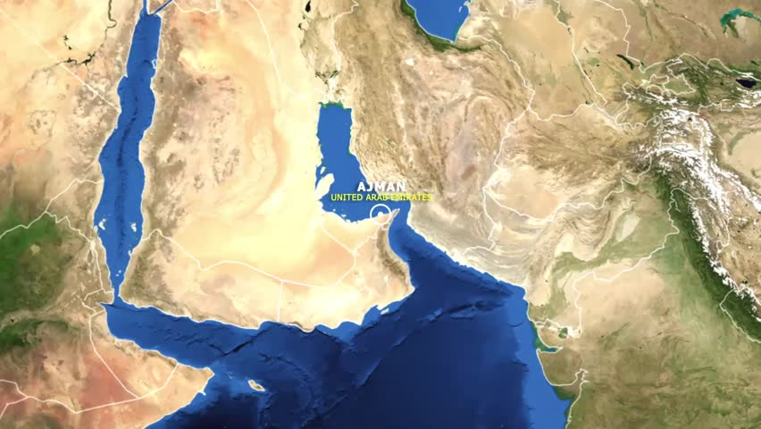 UNITED ARAB EMIRATES AJMAN ZOOM IN FROM SPACE