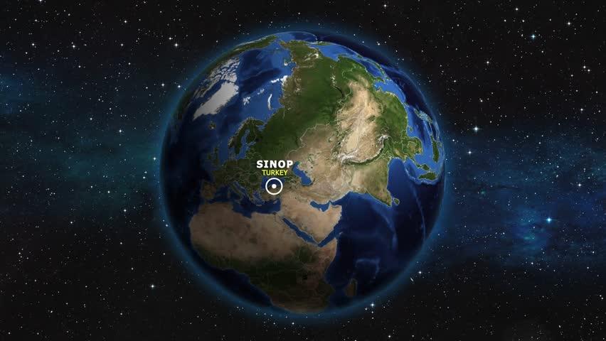 TURKEY SINOP ZOOM IN FROM SPACE   Shutterstock HD Video #1012727216