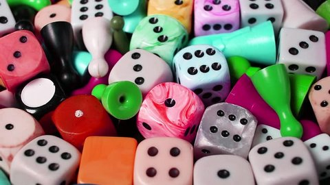 Dice board game dices rotating pattern macro texture background backdrop footage video.