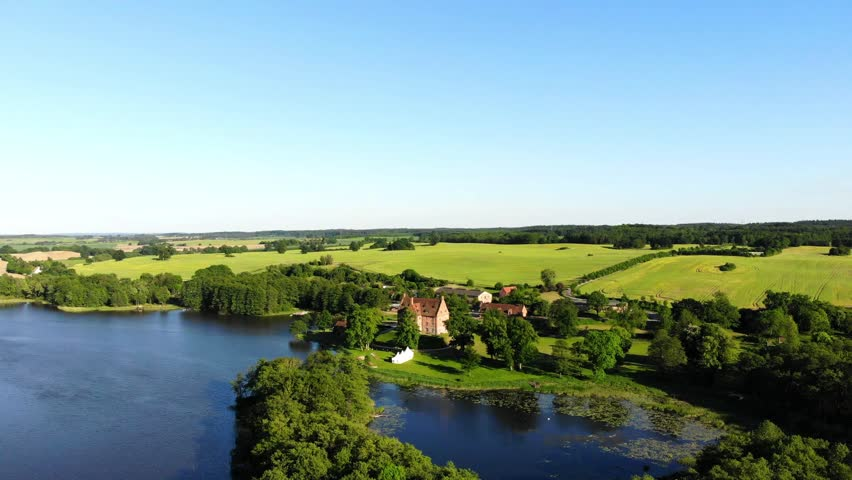 Aerial view of castle Ulrichshusen, Flight sideways, Mecklenburg-vorpommern, Germany