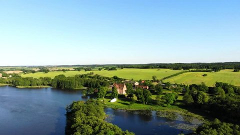 Aerial view of castle Ulrichshusen, Flight sideways, Mecklenburg-vorpommern, Germany