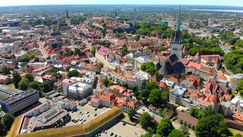 Tallinn Estonia Old Town, Scenic aerial view on a sunny day.