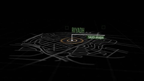 Locations Riyadh, Saudi Arabia. Animation of marking a point in Riyadh, Saudi Arabia. Location of the city, large shopping center. Video in 4K with resolution of 3840x2160.