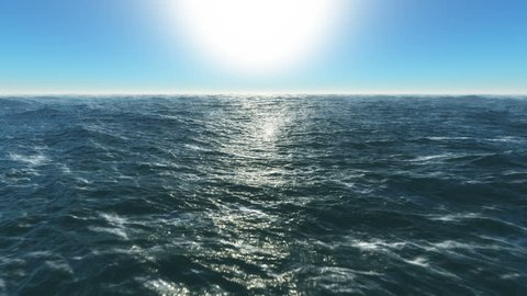 Ocean fly over,4k high speed animation just above the ocean waves facing the sun . 3d rendering