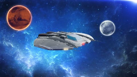 Alien spaceship, spacecraft flying in deep space with planets and stars in background, 3D animated science fiction scene