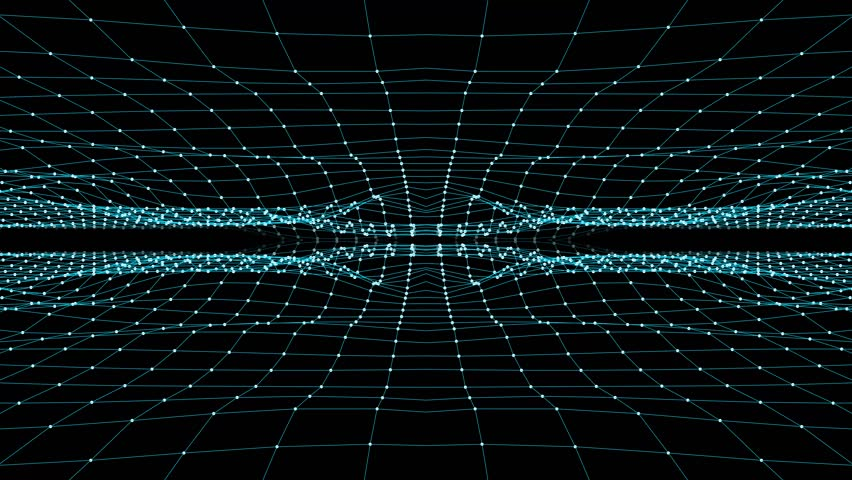 abstract BLUE polygon net connections cave fly animation background new quality dynamic technology motion colorful video footage