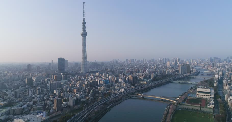 Aerial view of Skytree and Tokyo cityscape in the morning, Tokyo, Japan | Shutterstock HD Video #1012790036
