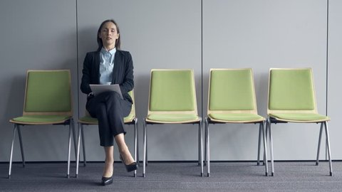 Young business woman waiting for job interview