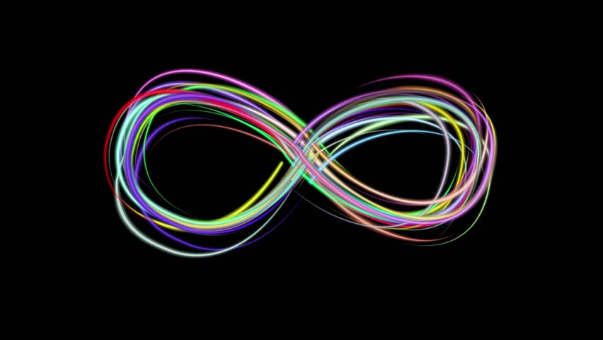 neon rainbow color drawn elegant infinity symbol lines stripes beautiful animation background New quality universal motion dynamic animated colorful joyful music video footage